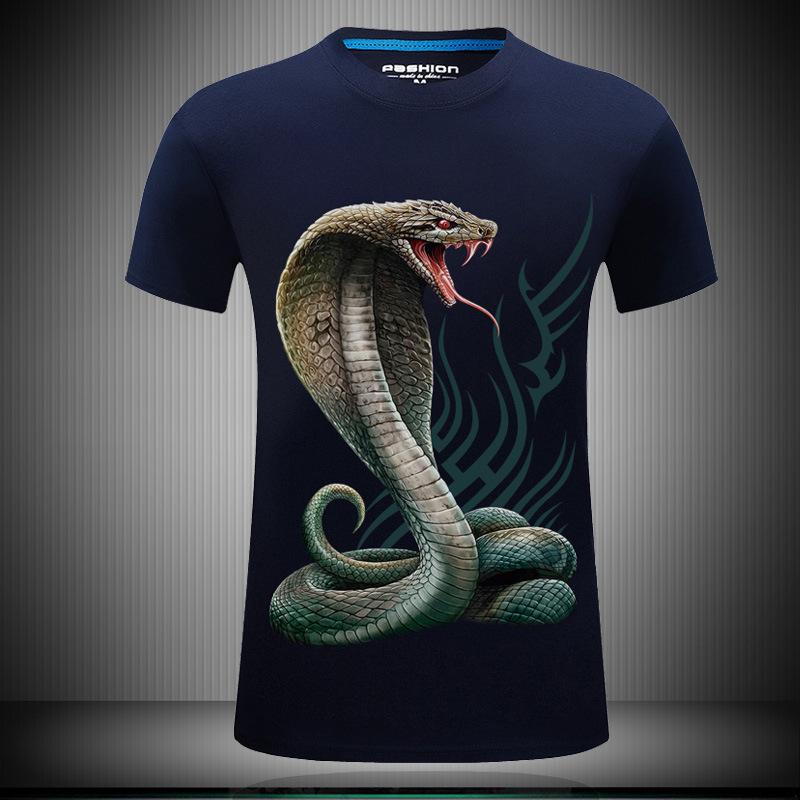 3D动物个性图案印花短袖T恤潮牌男装大码半袖体恤衫青年上衣夏装