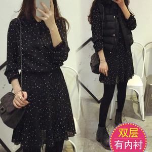 黑色波点雪纺连衣裙女长袖2021秋冬新款修身显瘦小个子内搭打底裙