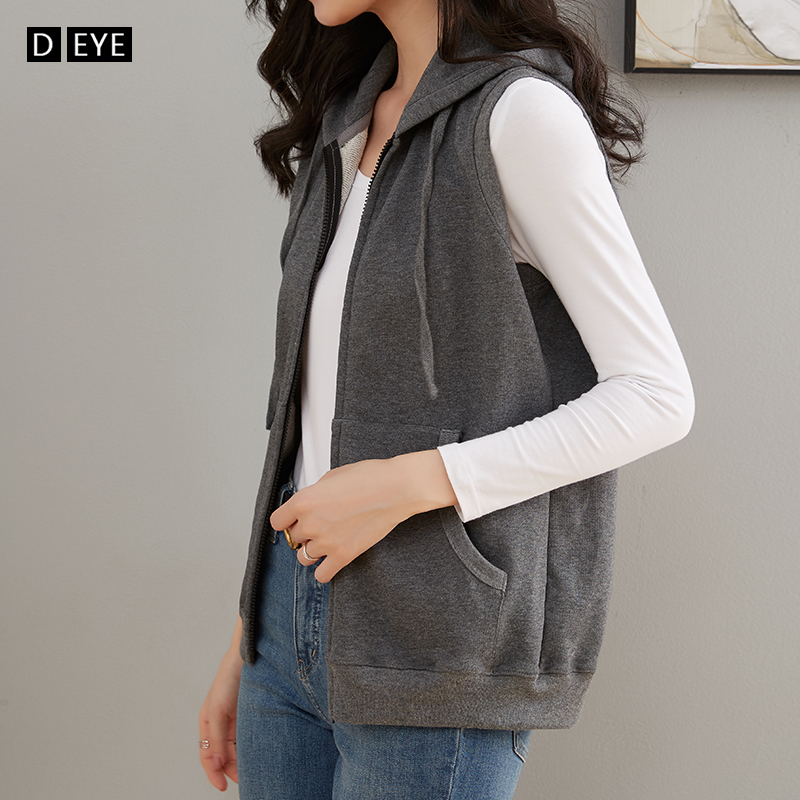 Pure cotton vest women's spring and summer sports sleeveless bodyguard jacket loose Hooded Vest cardigan single layer thin coat