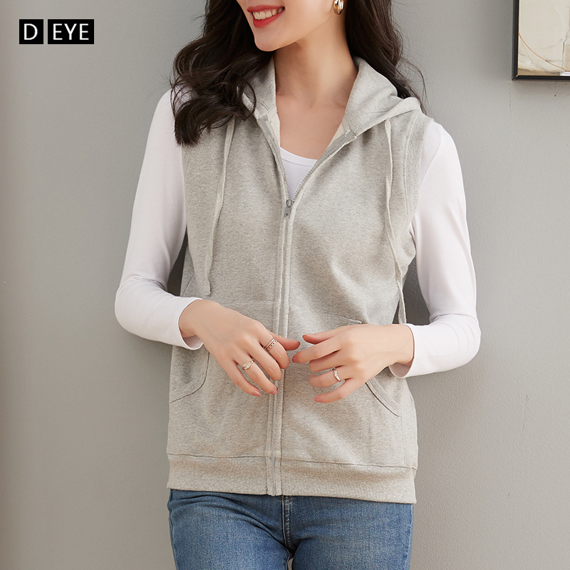 Vest women's spring, summer and autumn pure cotton sports hooded sleeveless sweater jacket with thin waistcoat