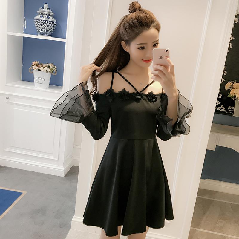 夜店性感女装2018新款超仙气质一字肩夜场女款裙子修身显瘦连衣裙