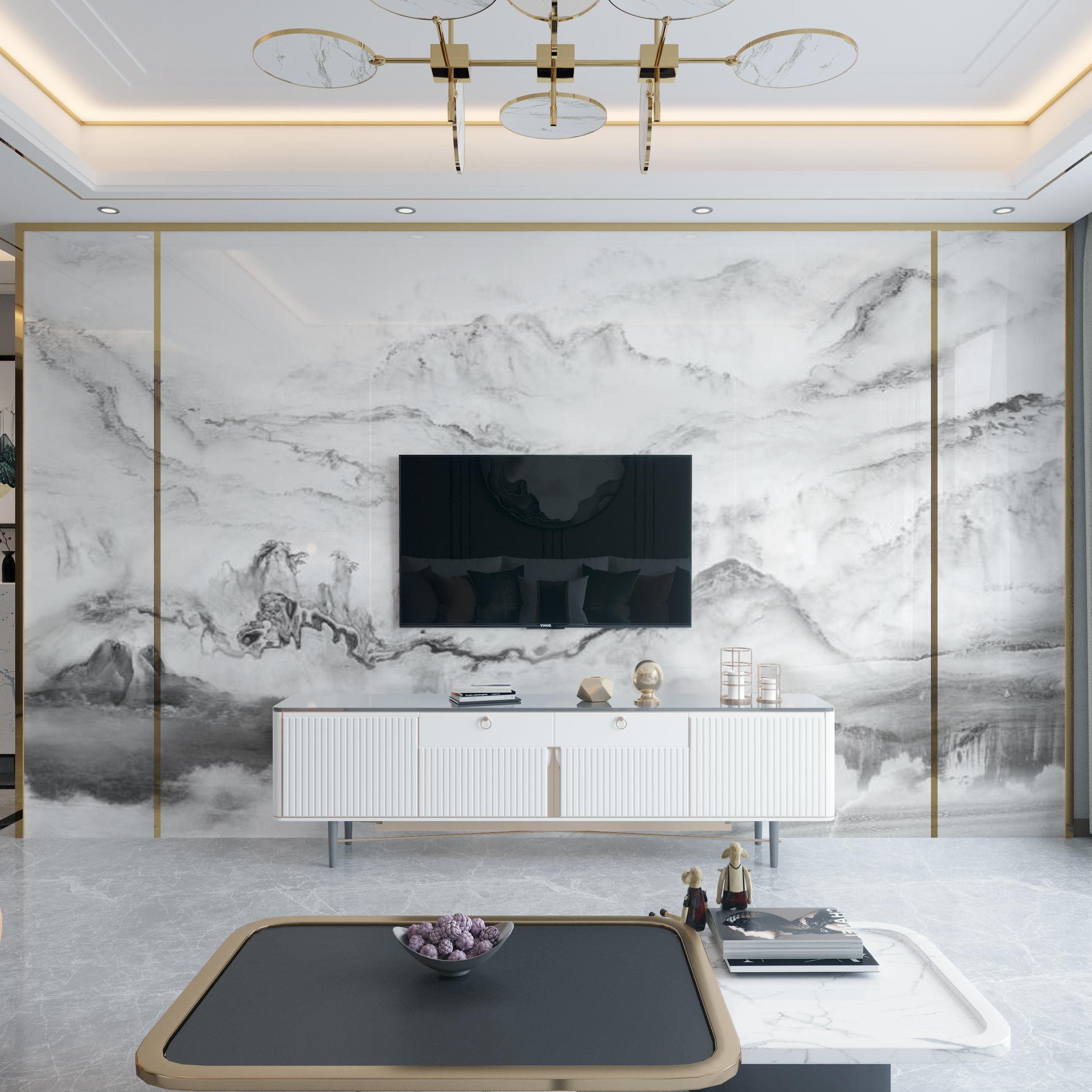 2021テレビの背景壁に客間のタイルを飾る山水画テレビの壁の微結晶石の大理石の外枠の映画とテレビの壁