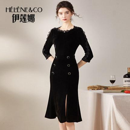 秋季新款七分袖修身包臀金丝绒连衣裙高贵气质中长款开叉鱼尾裙子