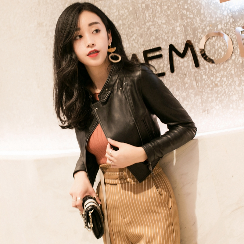 Black Leather Jacket Women's short waist spring and autumn 2020 new small leather coat high waist sheep leather jacket