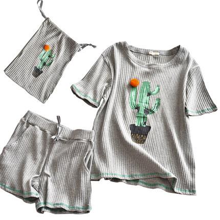 夏季休闲短袖短裤套装清新纯棉睡衣