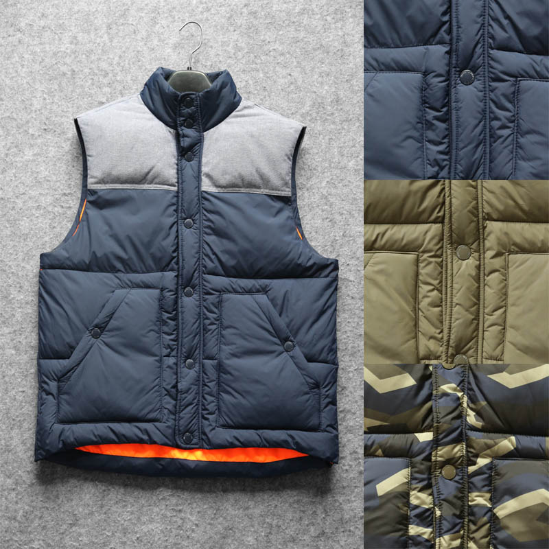 Mens export popular breasted stand collar cotton vest warm large shoulder European and American camouflage Navy autumn winter vest