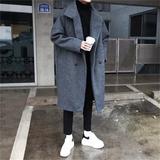 @方少男装 秋冬韩版宽松男士中长款青年潮流毛呢大衣加厚风衣外套