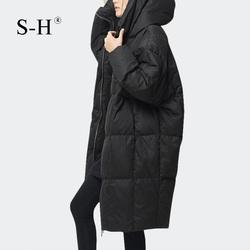 特价清仓!黑色羽绒服女韩版带帽加厚长款时尚过膝白鸭绒宽松外套