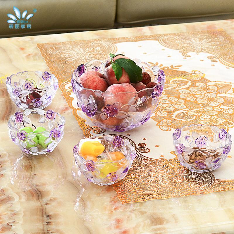 玫瑰玻璃水果盤 果鬥歐式 客廳零食盤大小號家用糖果盆
