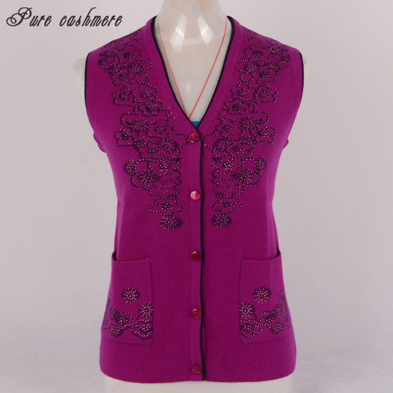 Inner Mongolia worsted cashmere vest womens thickened warm loose mature fashion wool vest y191