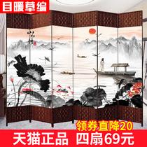 中式屏风隔断客厅玄关墙折叠移动卧室遮挡家用简约现代办公室实木