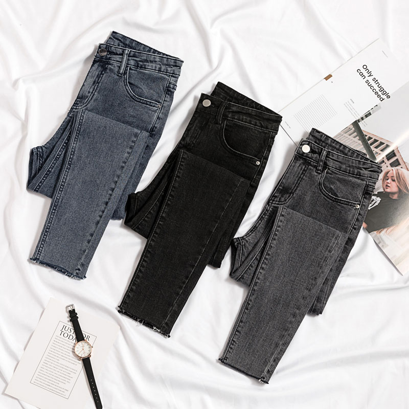 High waisted jeans womens slim pants childrens summer 2020 new versatile holed nine point black leggings