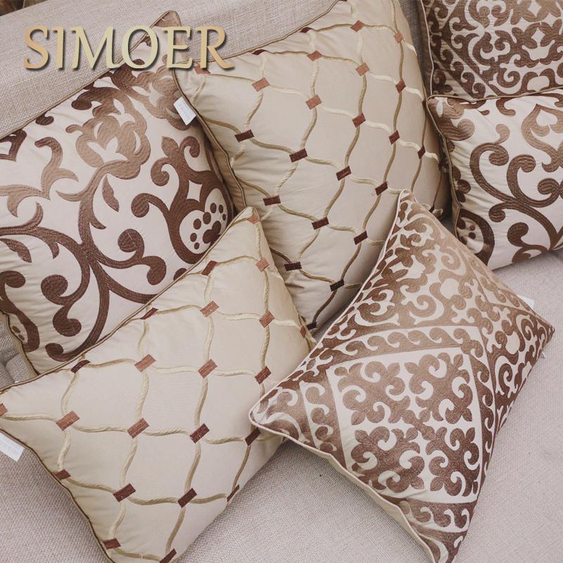 丝茉尔米色欧式绣花沙发靠垫抱枕靠背含芯床头大靠枕套靠包可定制