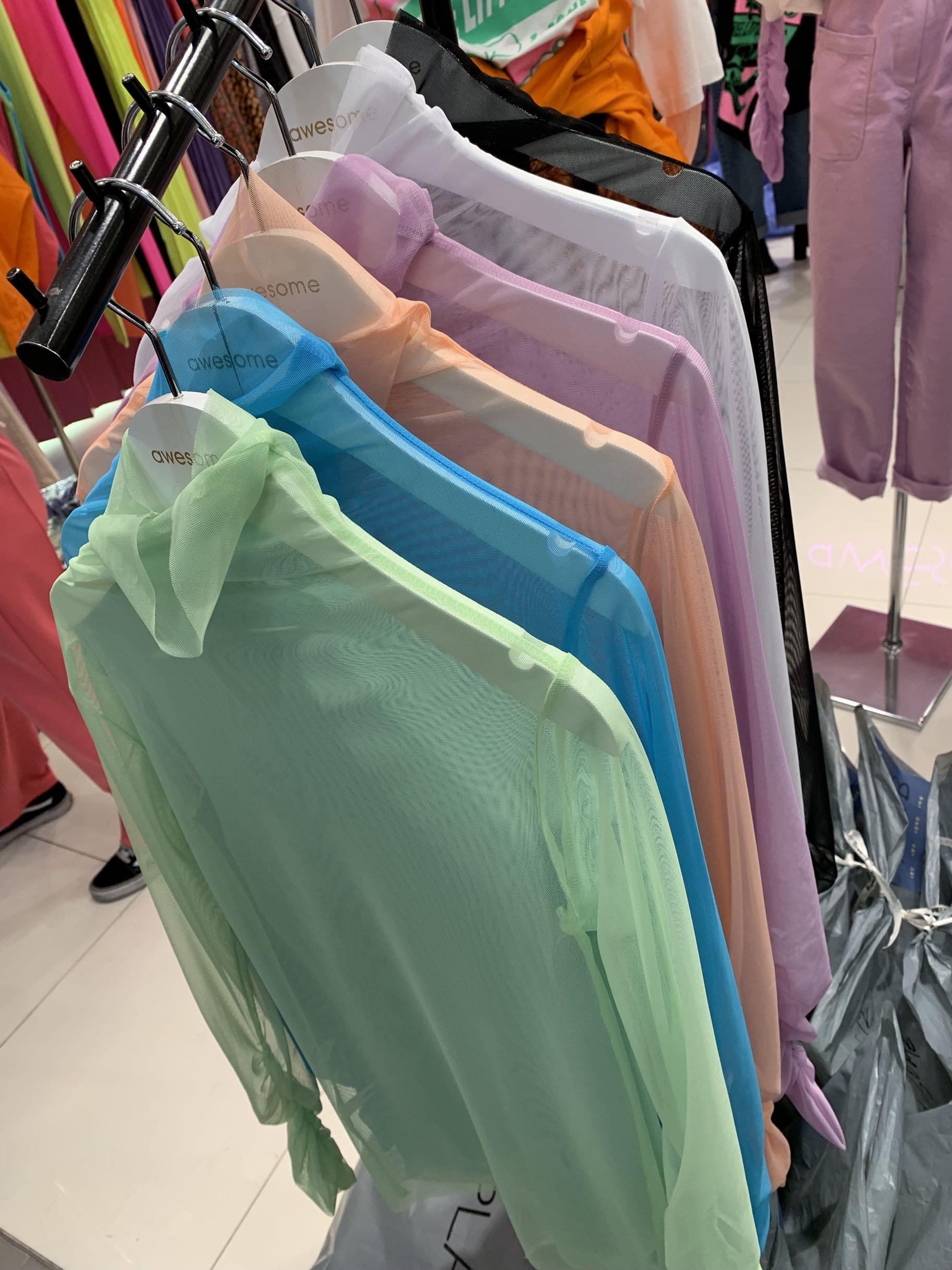 韩国东大门春秋冬装新款简约透明蕾丝上衣网纱百搭打底衫女内搭