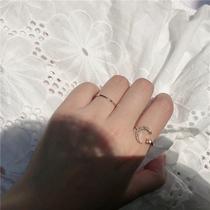 超值两件套装戒指月亮星星开口指环百搭水钻食指戒组合韩国个姓女