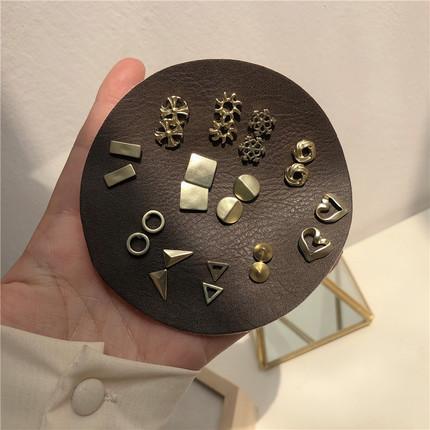 超值12对套装!全是经典款的小耳环!哑金高级感韩国气质耳饰品女