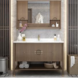 新中式橡木浴室柜洗手间洗手洗脸台盆柜落地大理石现代卫浴柜组合图片