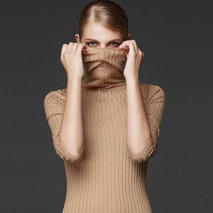 梅灣街|小款羊毛衫女100純羊毛半高領打底修身翻領針織衫2020毛衣
