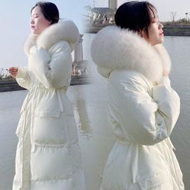 欧货洋气白色收腰中长款羽绒服女过膝2021年新款网红高端奢华外套