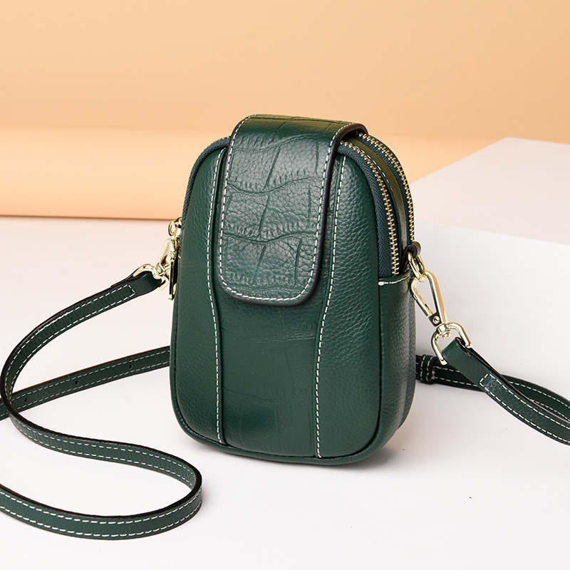 Real cow leather mobile phone bag womens Cross Mini Bag Leather Womens bag 2020 new advanced vertical small bag
