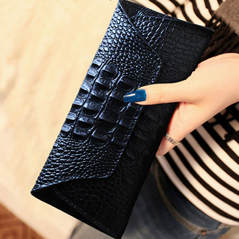 Crocodile pattern ladys purse womens long 2020 new leather European and American fashion fashion personality leather wallet small handbag