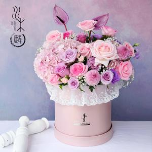 鲜花礼盒速递同城订花送花抱抱桶桌花花篮花花盒束成都花店生日