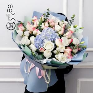成都鲜花生日订花速递同城送花配送红唇玫瑰花超大绣球花束花店