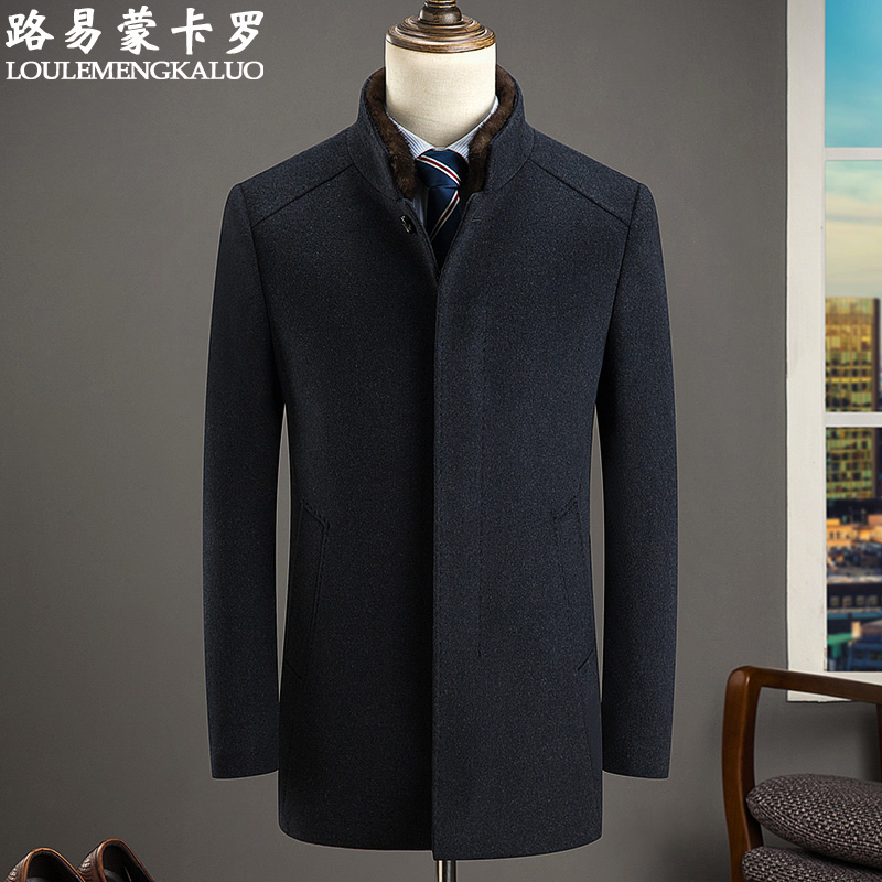 Large mens middle-aged cloth coat medium long woolen cloth coat mens middle-aged and old dads down thickened coat