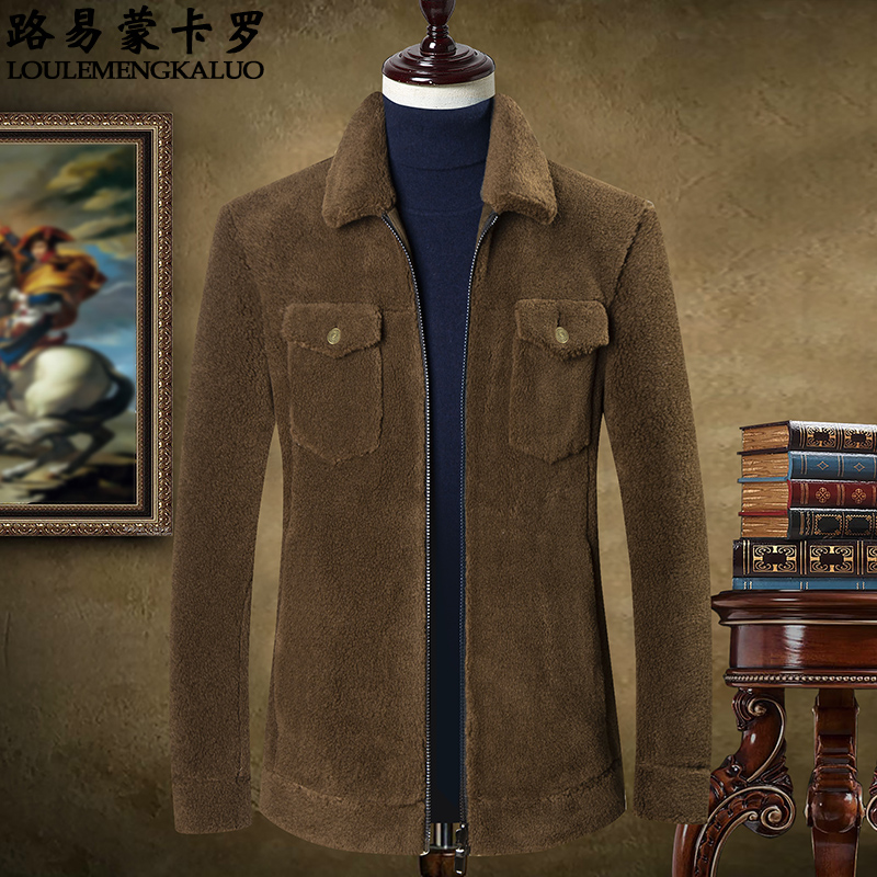 Wool jacket mens 2019 winter new middle-aged and young mens granular wool coat middle-aged and old dad winter