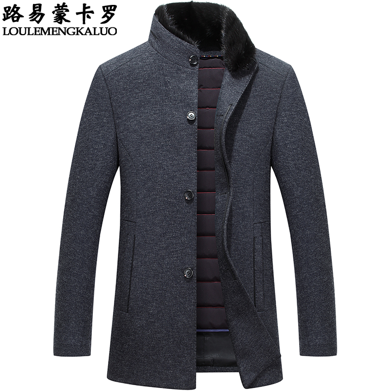 Winter middle-aged mens woolen coat medium and long woolen coat mens middle-aged and old dads down jacket thickened