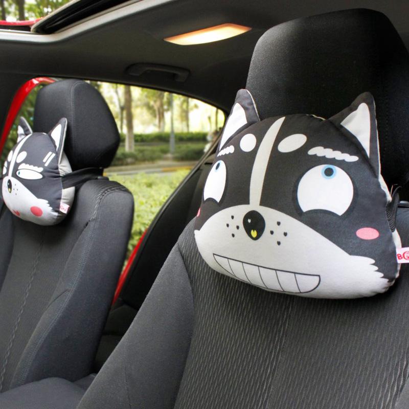 二哈士奇汽車頭枕卡通可愛車載護頸枕車用靠枕頭車內飾品四季