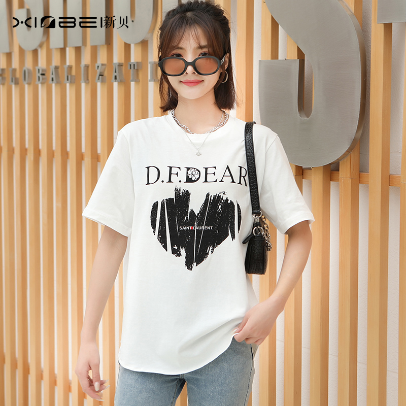 Short sleeve 2021 summer new print loose half sleeve sports T-shirt for lovers