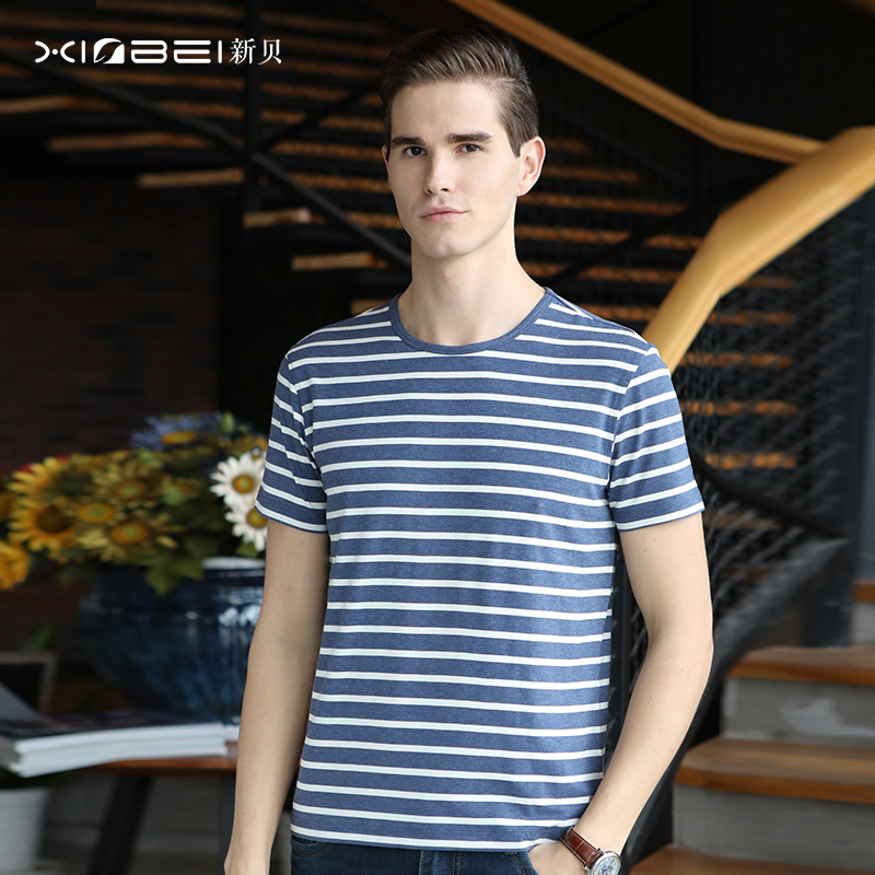 Xinbei summer new moisture absorption and breathable bamboo fiber t-shirt mens STRIPE TOP thin T-shirt round neck business leisure
