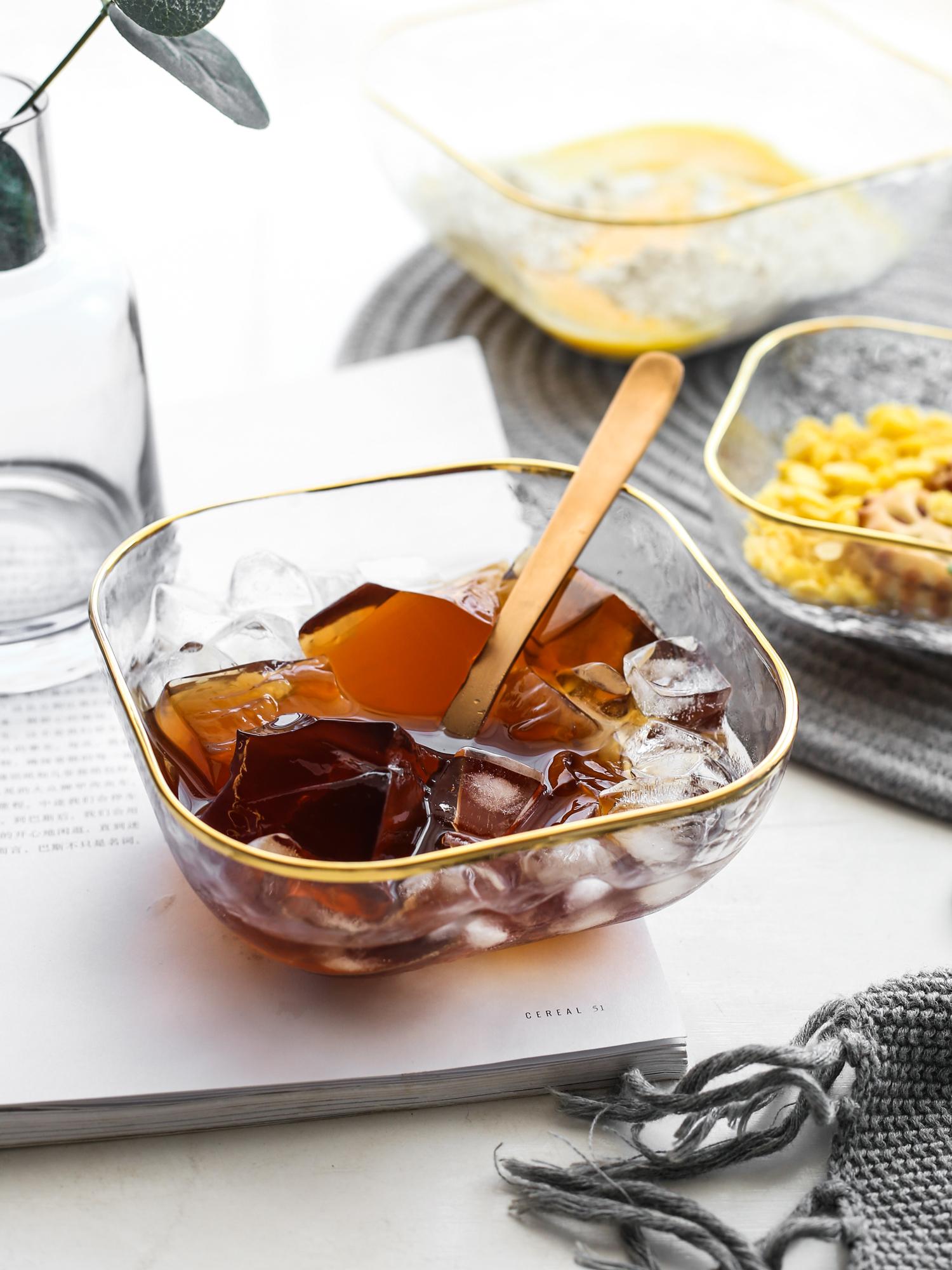 一人食餐具套装金边玻璃碗日式哑光金边餐具单人透明碗简约餐具