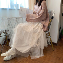 2019 new super immortal Korean style all over skirt ins cake skirt high waist long skirt half skirt autumn winter women's medium length
