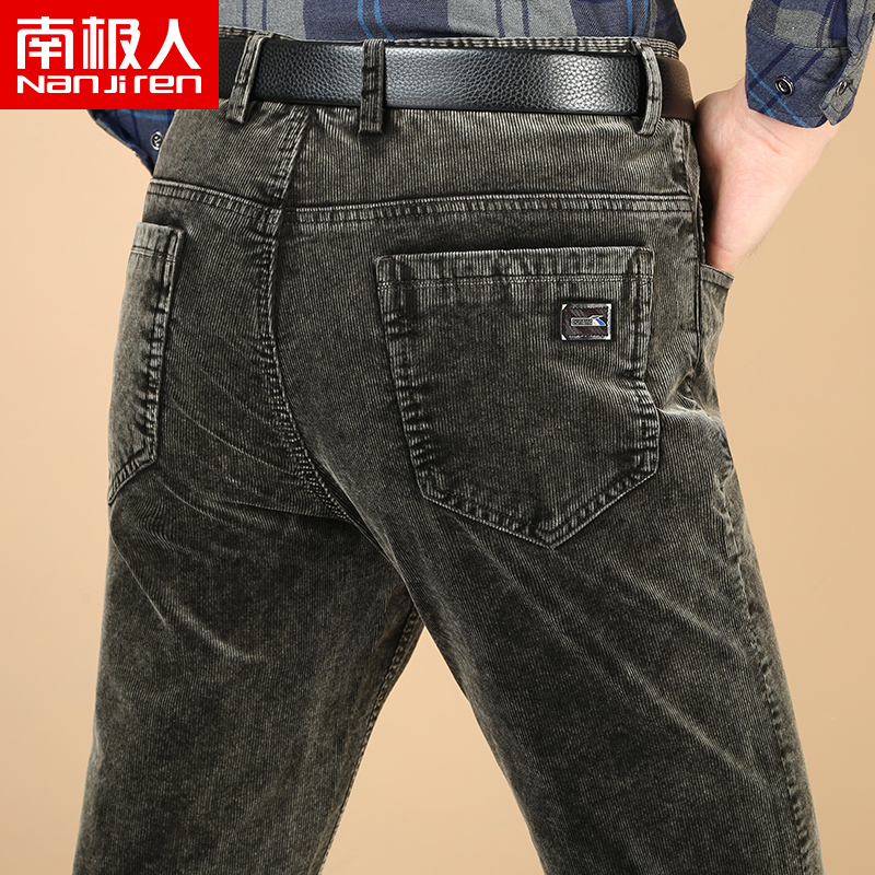 Antarctic spring and autumn corduroy pants mens elastic straight tube flannel pants loose middle aged mens pants business leisure