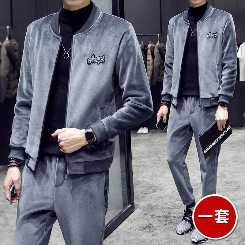 金丝绒两件套休闲运动套装男开衫卫双面超柔金丝绒帅气套装衣服潮