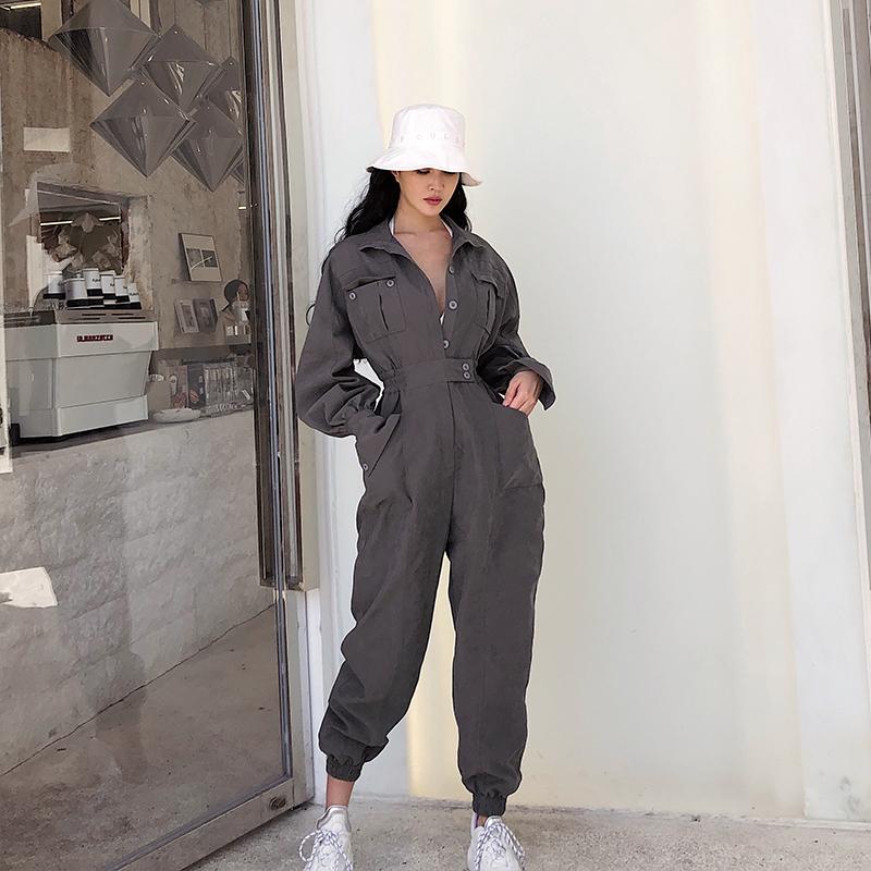 TERGOLY欧美ins2019新款时尚套装高腰宽松连衣纯色工装连体裤女秋