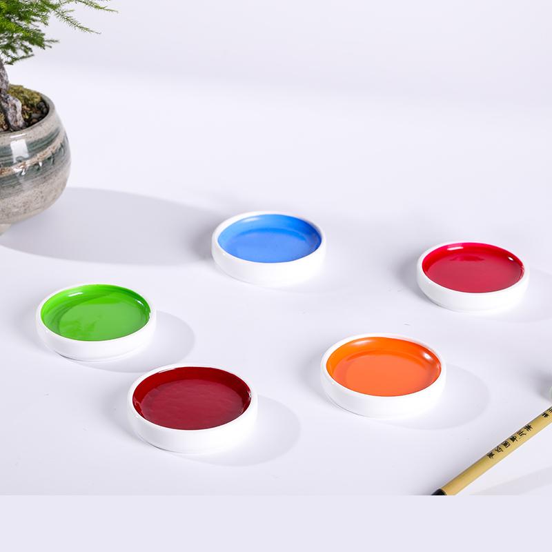 包邮 正品日本进口吉祥铁钵颜彩单色专业国画工笔写意颜料瓷碟 固体水彩中国画颜料单支美术用品
