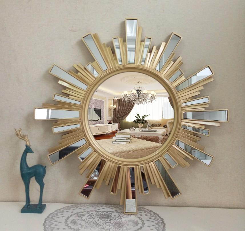 Manufacturers new European bathroom mirror waterproof collage makeup mirror porch sun shape decoration mirror wall hanging mirror