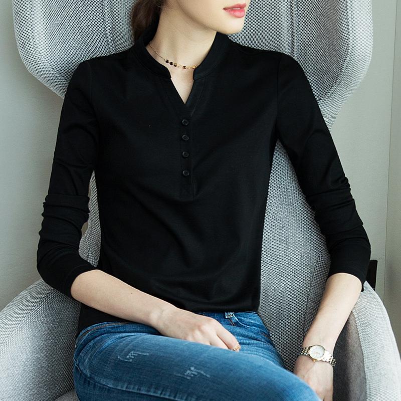 长袖t恤黑色2020春秋新款薄打底衫