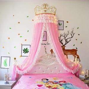 床幔公主风床帘皇冠蚊帐家用床头帘纱帐婚庆装饰卧室幔纱一体式