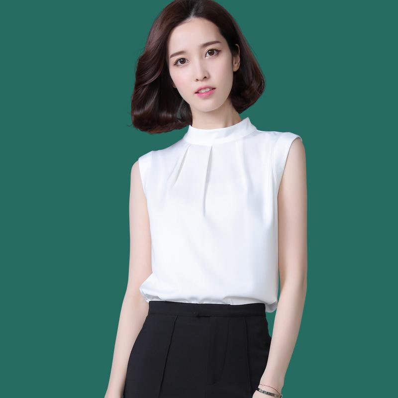 2020夏季新款白色无袖雪纺立领衬衫