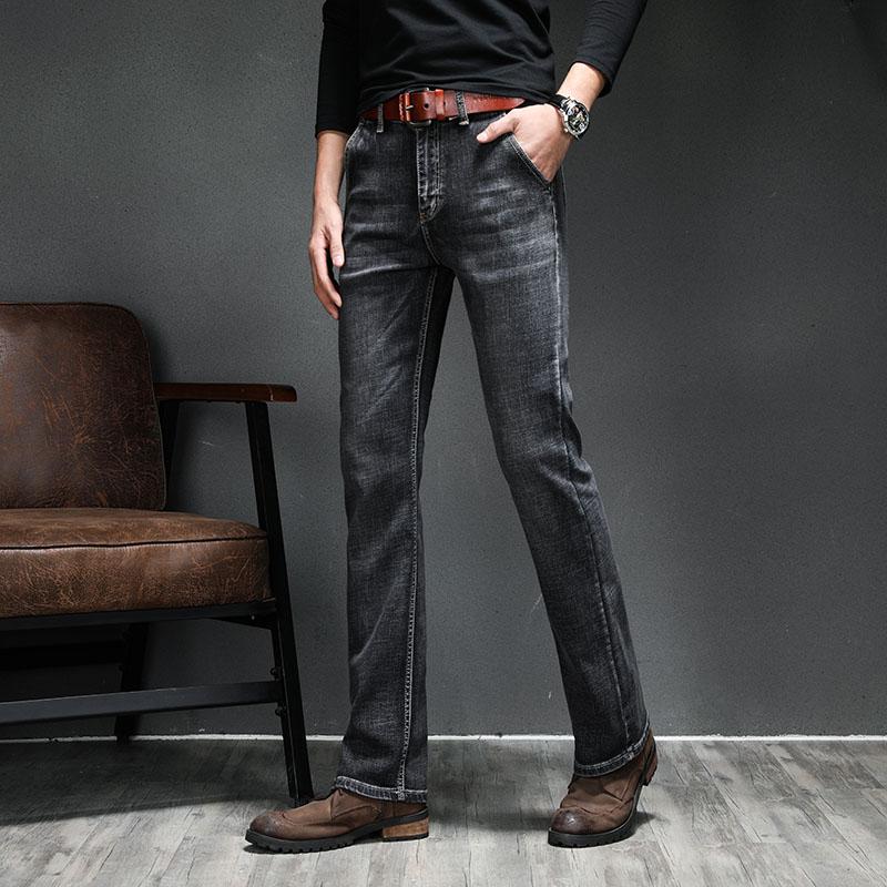 21 spring and autumn new mens Micro trumpet cowboy pants Korean version fashion elastic slim fit mens cowboy small trumpet pants soot