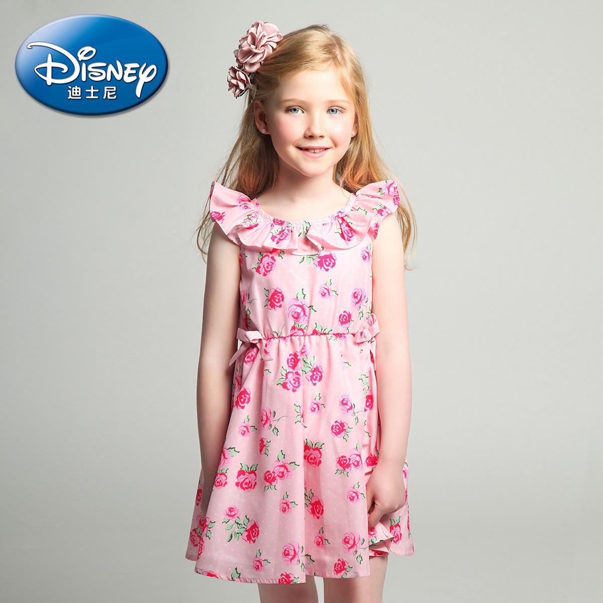 迪士尼 女童飛飛袖連衣裙中大童公主裙 中大童裙子淑女裙2016