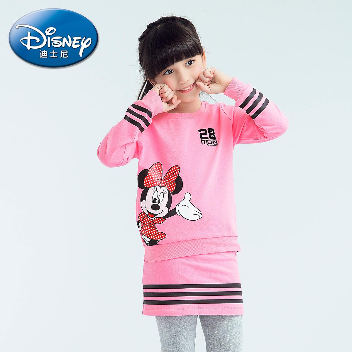 迪士尼兒 女童純棉套裝中大童 兩件套2016春秋小孩衣服
