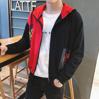 【控57】拼色新款韩版连帽开衫学生帅气百搭夹克外套上衣BW08 P55