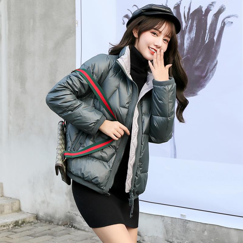 爆款新款立领反季羽绒服女短款韩版90白鸭绒撞色面包服宽松外套潮