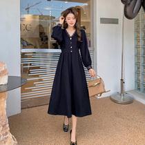 蓝语大码女装胖妹妹mm蕾丝V领长袖连衣裙2021秋新款显瘦a字小黑裙