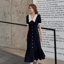 蓝语大码女装胖妹妹mm气质温柔鱼尾裙2021夏新款遮肉连衣裙子中长